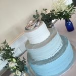 three shades of blue wedding cake