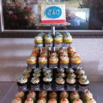 multiple types of cupcakes in a tower