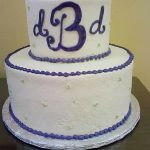 2 tier wedding cake with monogram