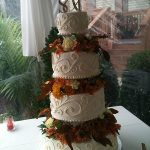 fall flowers on a wedding cake