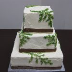 three tier square wedding cake