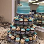 cupcakes and cake with shells and starfish