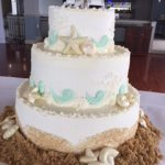 cake decorated with sand and shells all around