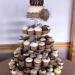 Cupcake stacked on a tray